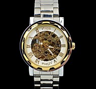 Classic Silver Stainless Steel Dand  Skeleton Dial Men's Automatic Watch