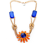 Classic Orange And Blue Gem (Flower Pendant) Gold Alloy Statement Necklace(Orange,Green) (1 Pc)