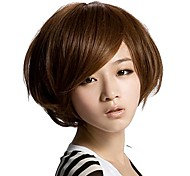 Capless Short Straight Hair Light Brown Synthetic Side Bang Wigs