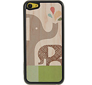 Elephant Mother and Baby Spraying Water Pattern Shimmering PC Hard Case for iPhone 5C