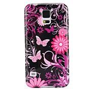 Pink-Blumen-Muster-Ultra-Slim Glatte Soft Gel TPU Tasche für Samsung Galaxy i9600 S5