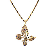 Vintage  (Butterfly) Gold Alloy Pendant Necklace (1 Pc)
