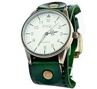 Unisex Vintage Big Dial Leather Band Quartz Analog Wrist Watch (Assorted Colors)