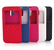 Luxe Window Bekijken Check Plaid Grid Leather Flip Case Cover voor Galaxy SV S5 i9600