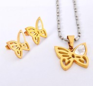Sweet  Butterfly Titanium Steel   Necklaces Earrings  Gemstone Jewelry Sets