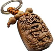 Duo Ji Mi ® Dragon Key Chain Rosewood Carving Safe Car Keys Pendan