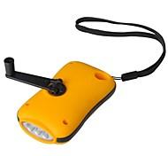 Extérieure Portable 3 LED Dynamo Lampe de poche - Orange + Noir