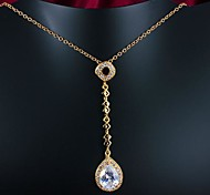 Real Gold Plated Big Zircon Pendant  Necklace