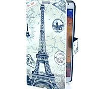 Tower with Map Pattern PU Leather Case with Stand Card for Samsung Galaxy Note3 N9000