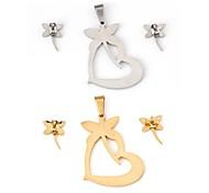 Dragonfly Loving Heart Pattern Metallic With Diamond Drop Earring(1set)