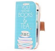 Prenota e custodia in pelle Tea Style con slot per schede e supporto per Samsung Galaxy S3 Mini i8190