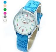 Kindermode Runde Sache PU-Band Quarz-Armbanduhr (verschiedene Farben)