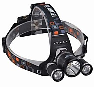 BORUIT SF-555B  Rechargeable 3*CREE XML T6  4-Mode LED 10w High Power Headlamp(3000lm,2*18650,Black)
