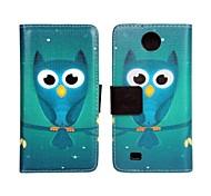 Custodia in pelle PU Owl Pattern Pattern per HTC Desire 300