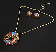 Vintage Circular Multicolor Irregular Pattern  Gold Plated (Necklaces&Earrings) Jewelry Sets
