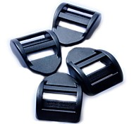 Luggage Strap Adjustor Tension Ladder Lock Buckle 25mm - Black (4-Pieces Pack)
