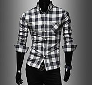 Herren Revers Streifen Langarm-Shirt
