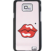 Sexy Red Lips Pattern Pink Hard Case for Samsung I9100