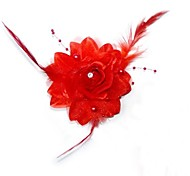 Fashion Bride Red Feathers All Over The Sky Star Headdress Flower Hairpin