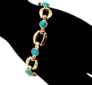 U7® New Turquoise Bracelets Bangles For Women 18K Real Gold Plated Jewelry Bangles Turkey Stone Jewellery