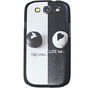 Corazón negro y blanco Caso Patrón duro para Samsung I9300