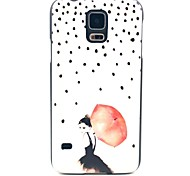 Walking in The Rain Girl Pattern Hard Case Cover for Samsung Galaxy S5 I9600