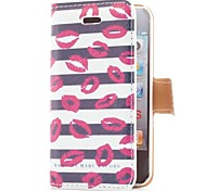 Kiss and Stripe Style Flip Leather Case with Stand and Card Slot for iPhone 4/4S