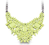 (1 Pc)Sweet (Light green gemstone) as Picture Alloy Statement Necklace