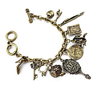 Vintage Mirror and Frog Bronze Charm Bracelet