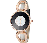 Women's Rose Gold Diamante Round Dial PU Band Quartz Analog Fashion Watch (Assorted Color)