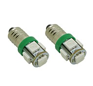 E10 1W 5X5050 SMD Green Lights ampoule LED pour le bricolage (DC 12V, 2-Pack)