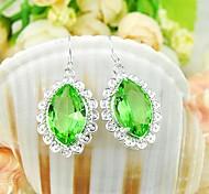 Lumière de quartz vert Pierre gemme quotidienne de baisse de boucles d'oreille en argent Classis 1pair