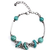 Coway3000037 The Personality of Silver Turquoise Bracelet