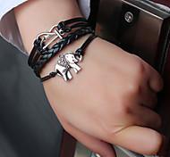 shixin® europeo elefante 18 centimetri braccialetto di cuoio nero delle donne (1 pc)