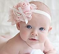 Children's Chiffon Rose Pearl Chain Bowknot Elastic Headband