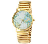 Mulheres Atlântico Mapa Padrão Elastic Ouro liga faixa de pulso de quartzo