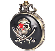 Men's Pirate Pattern Bronze Alloy Quartz Pocket Watch