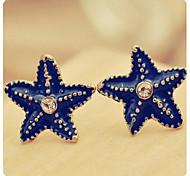 Blaue Starfish Diamant-Ohrstecker
