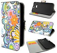 Fleurs colorées Porte-monnaie en cuir PU avec couverture de cas de stand pour HTC One M8