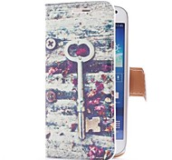Vintage Key and Flowers Style Leather Case with Card Slot and Stand for Samsung Galaxy S4 Mini i9190