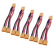 XT60 Macho para 2 XT60 Feminino Bala de fios de extensão (5 unidades)