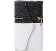 Blanco y Negro cartera de la caja de la PU de cuero para Samsung i9600 S5