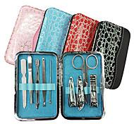 Kits 9PCS Clippers manicure Dentro Alligator Grain Manicure Bag (cor aleatória)