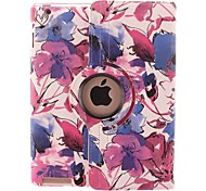 Color Ink Flower  Design 360 Degree Rotating PU Leather Case & Stand for iPad 2/3/4