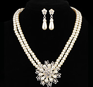Gift For Mother Fashion Chain With Flower Shape Pearl Jewelry Sets