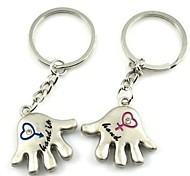(2 PC)Beautiful Palm Shape Of Men And Women Fashion Symbol Of High-Grade Stainless Steel Couple Keychain