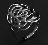 Fashion Big Hollow Rose Women's Silver Alloy Statement Rings(1 Pc)