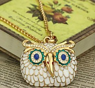Rhinestone Owl  Sweater Chain Dimensional Pendant Necklace