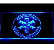 signo de los servicios médicos de neón luz de emergencia ems