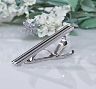 Men's Bright Silver/Black 316L Stainless Steel Tie Clips